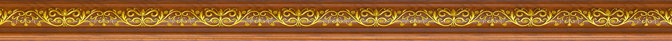 Thick wood trim with inlayed gold decoration